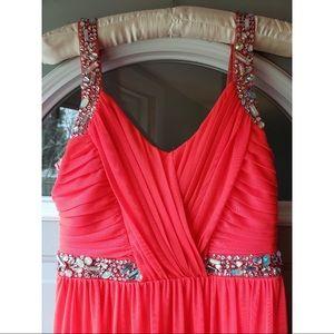 Bright Salmon Colored Prom Dress